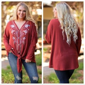 PLUS Rust Embroidered Tie Front Sweater